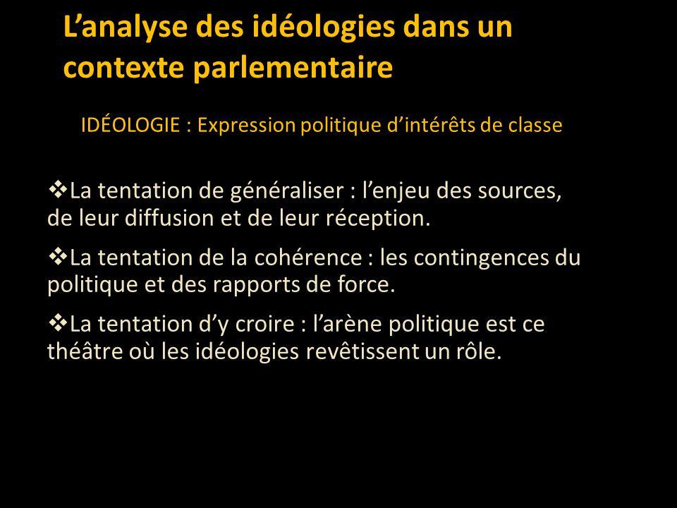 L'analyse des idéologies dans un contexte parlementaire IDÉOLOGIE : Expression politique d'intérêts de classe  La tentation de généraliser : l'enjeu