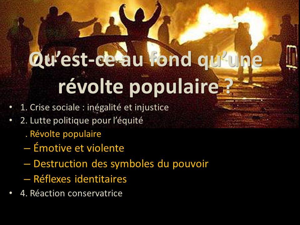 Qu'est-ce au fond qu'une révolte populaire ? 1. Crise sociale : inégalité et injustice 2. Lutte politique pour l'équité 3. Révolte populaire – Émotive