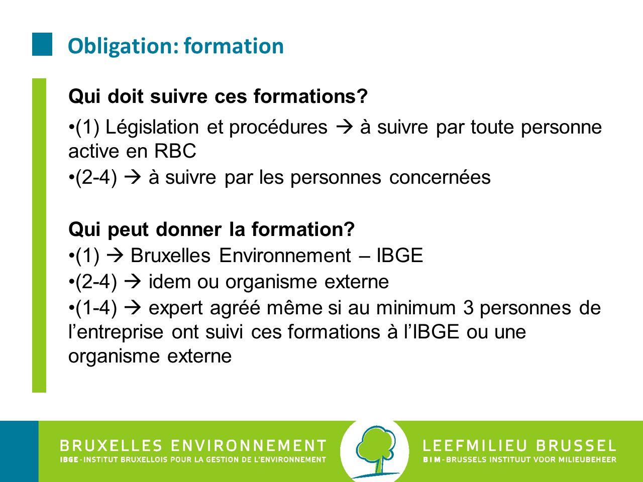 Obligation: formation Qui doit suivre ces formations? (1) Législation et procédures  à suivre par toute personne active en RBC (2-4)  à suivre par l