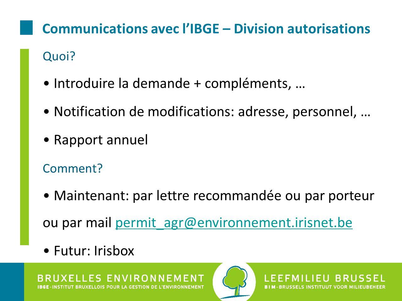 Communications avec l'IBGE – Division autorisations Quoi? Introduire la demande + compléments, … Notification de modifications: adresse, personnel, …