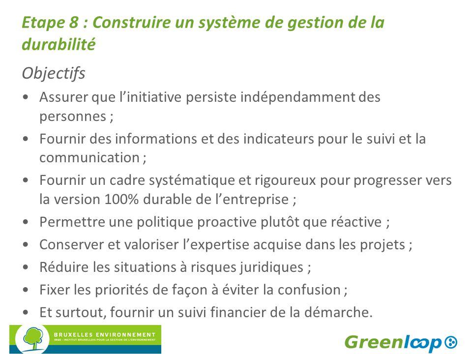 Etape 8 : Construire un système de gestion de la durabilité Objectifs Assurer que l'initiative persiste indépendamment des personnes ; Fournir des inf