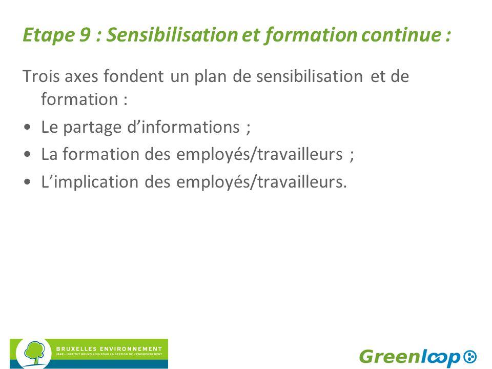 Etape 9 : Sensibilisation et formation continue : Trois axes fondent un plan de sensibilisation et de formation : Le partage d'informations ; La forma