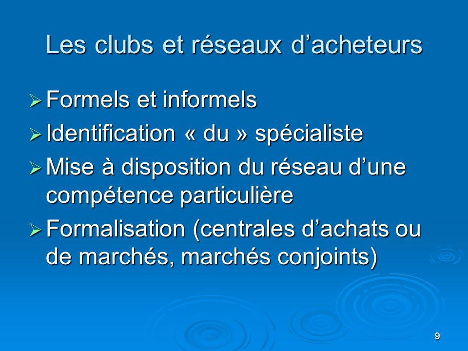 Les clubs et réseaux d'acheteurs  Formels et informels  Identification « du » spécialiste  Mise à disposition du réseau d'une compétence particulière  Formalisation (centrales d'achats ou de marchés, marchés conjoints) 9