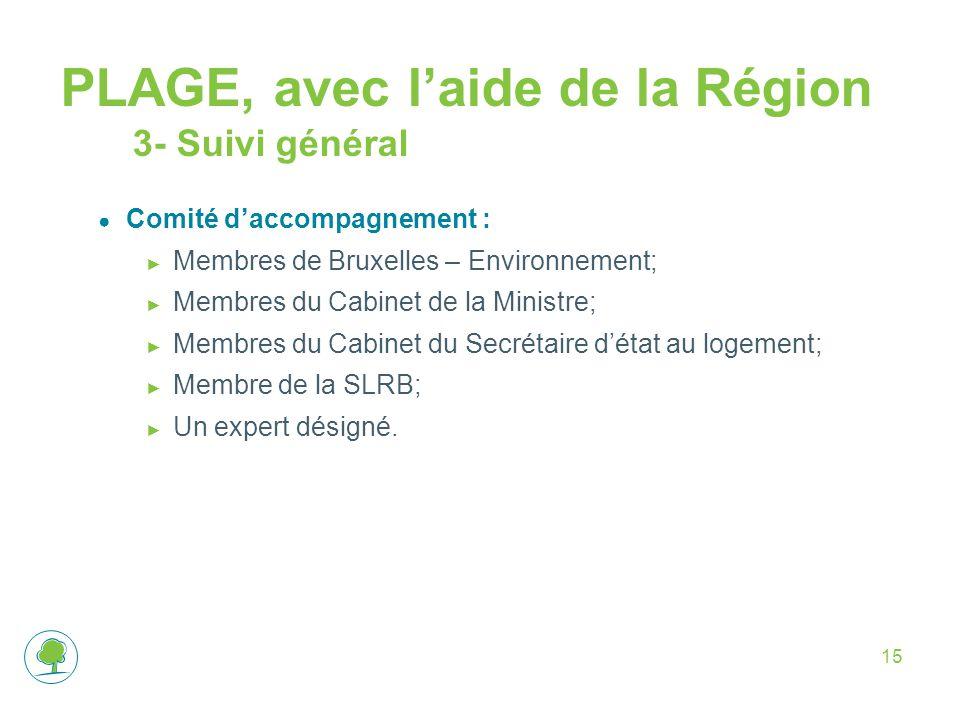 15 PLAGE, avec l'aide de la Région 3- Suivi général ● Comité d'accompagnement : ► Membres de Bruxelles – Environnement; ► Membres du Cabinet de la Min