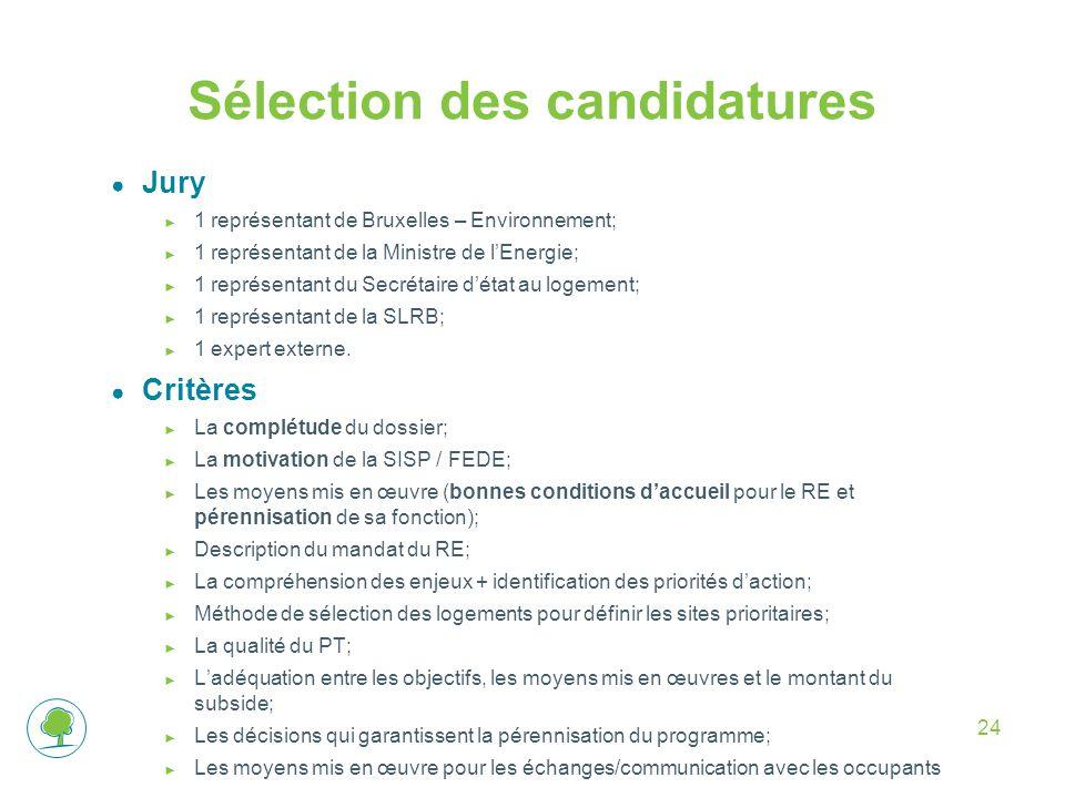 24 Sélection des candidatures ● Jury ► 1 représentant de Bruxelles – Environnement; ► 1 représentant de la Ministre de l'Energie; ► 1 représentant du