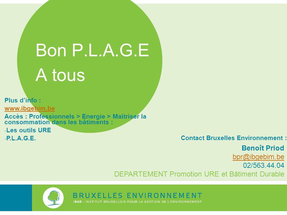 Bon P.L.A.G.E A tous Contact Bruxelles Environnement : Benoît Priod bpr@ibgebim.be 02/563.44.04 DEPARTEMENT Promotion URE et Bâtiment Durable Plus d'i