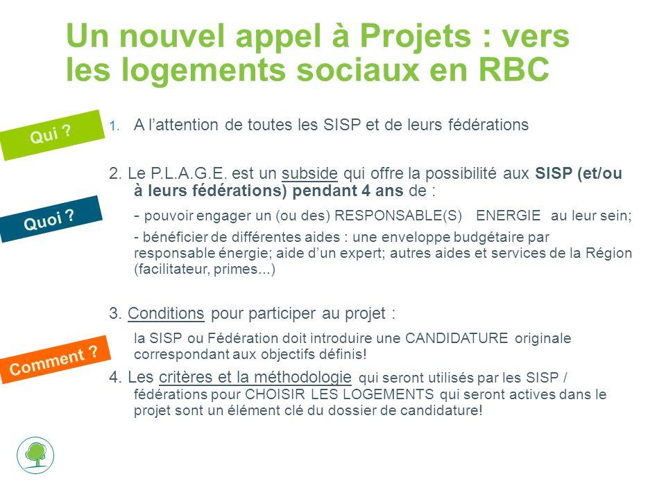 Un nouvel appel à Projets : vers les logements sociaux en RBC 1. A l'attention de toutes les SISP et de leurs fédérations 2. Le P.L.A.G.E. est un subs