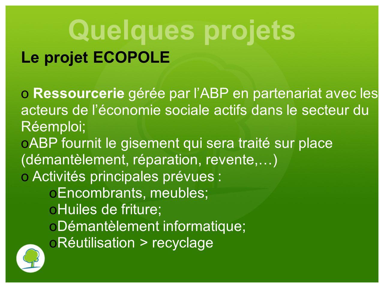 Le projet ECOPOLE o Ressourcerie gérée par l'ABP en partenariat avec les acteurs de l'économie sociale actifs dans le secteur du Réemploi; oABP fourni