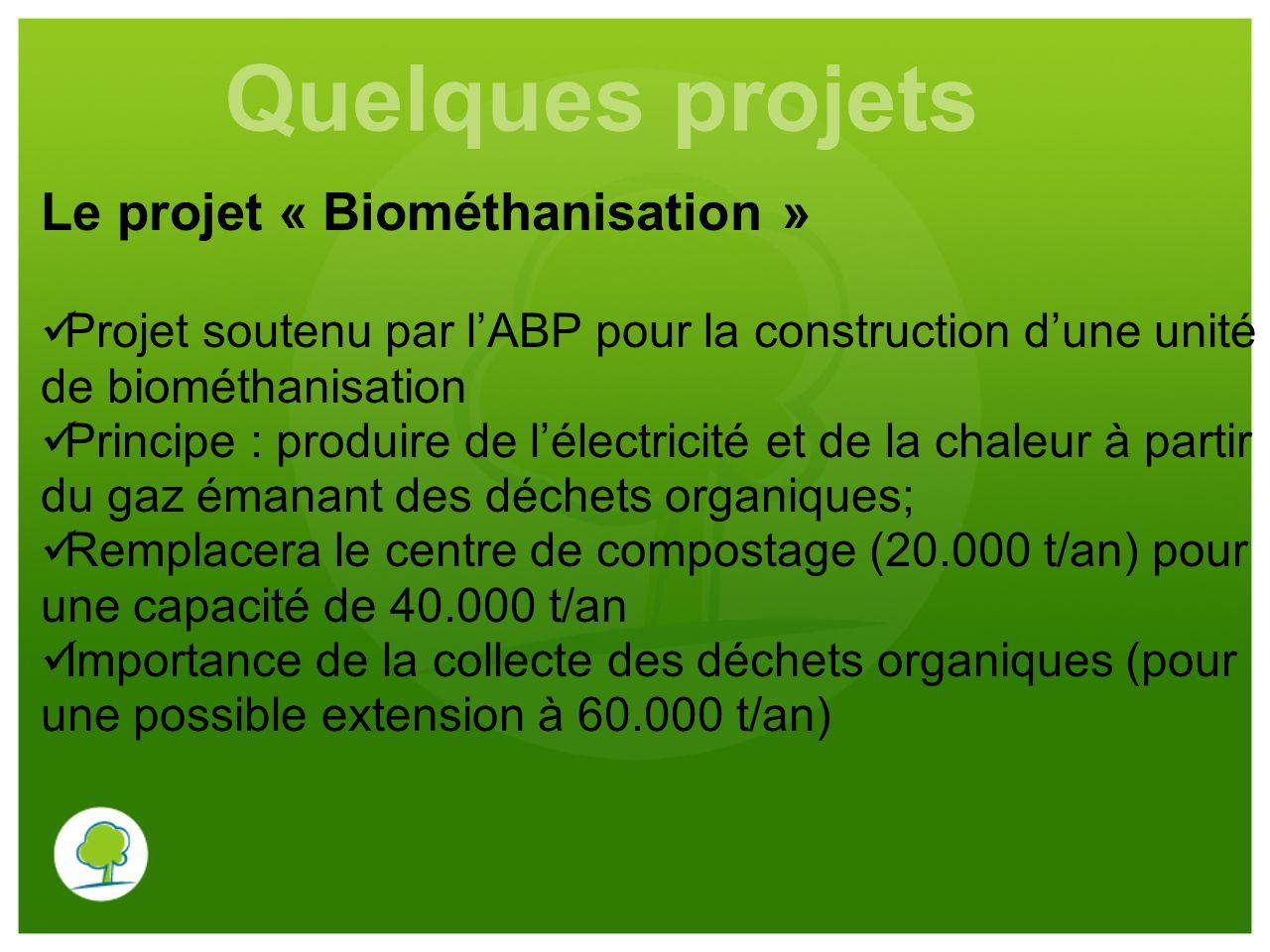 Le projet « Biométhanisation » Projet soutenu par l'ABP pour la construction d'une unité de biométhanisation Principe : produire de l'électricité et d