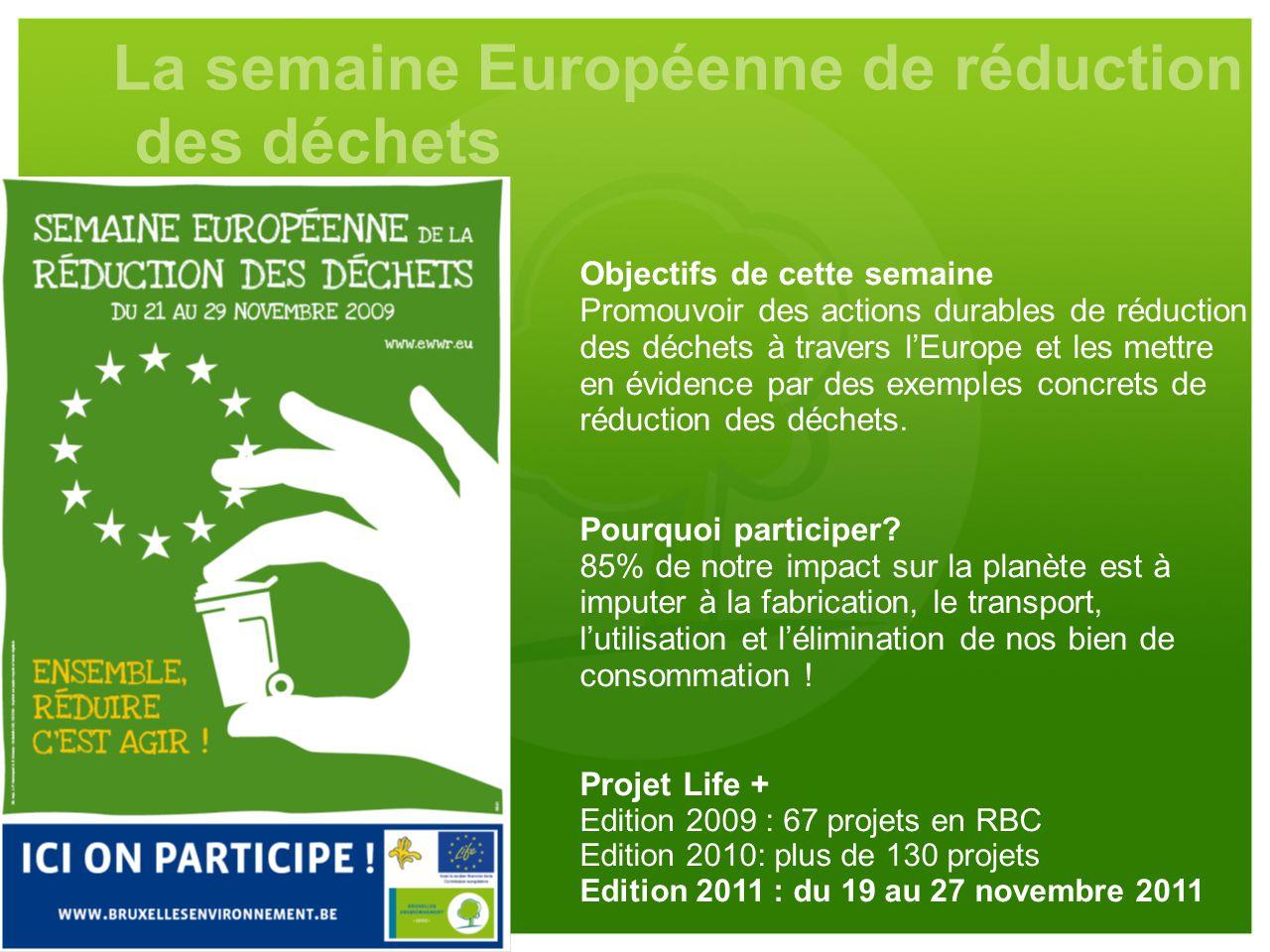 La semaine Européenne de réduction des déchets Objectifs de cette semaine Promouvoir des actions durables de réduction des déchets à travers l'Europe