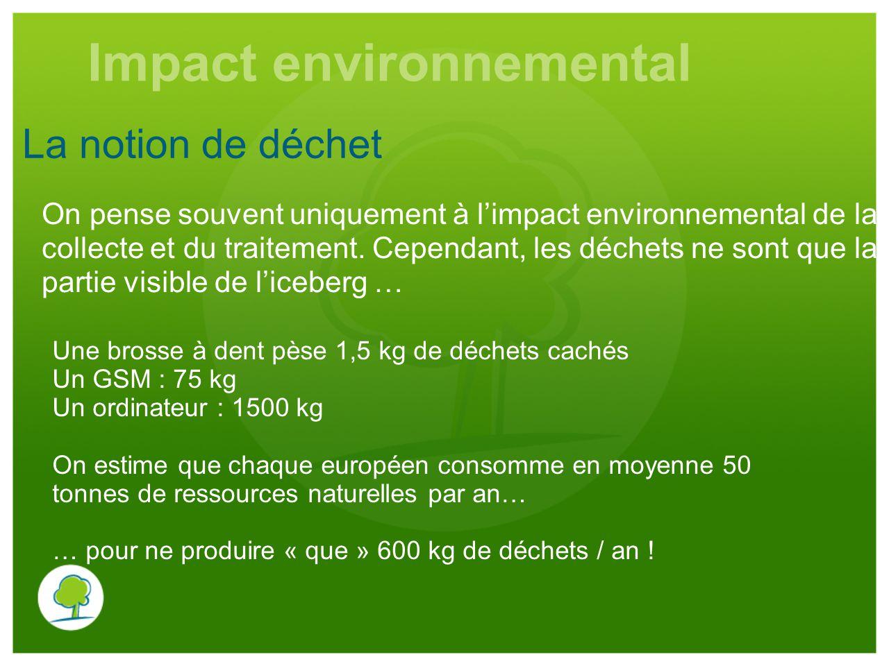 La notion de déchet On pense souvent uniquement à l'impact environnemental de la collecte et du traitement. Cependant, les déchets ne sont que la part