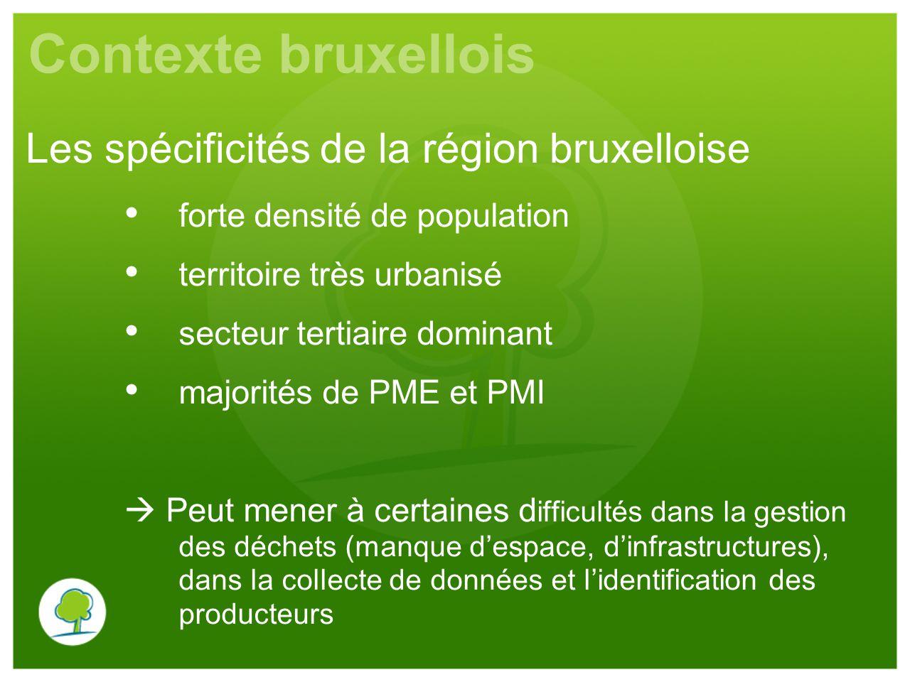 Contexte bruxellois forte densité de population territoire très urbanisé secteur tertiaire dominant majorités de PME et PMI  Peut mener à certaines d