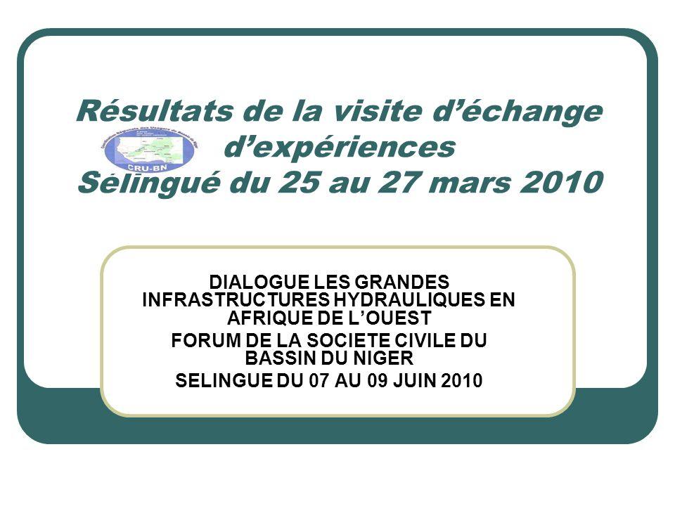 Résultats de la visite d'échange d'expériences Sélingué du 25 au 27 mars 2010 DIALOGUE LES GRANDES INFRASTRUCTURES HYDRAULIQUES EN AFRIQUE DE L'OUEST FORUM DE LA SOCIETE CIVILE DU BASSIN DU NIGER SELINGUE DU 07 AU 09 JUIN 2010
