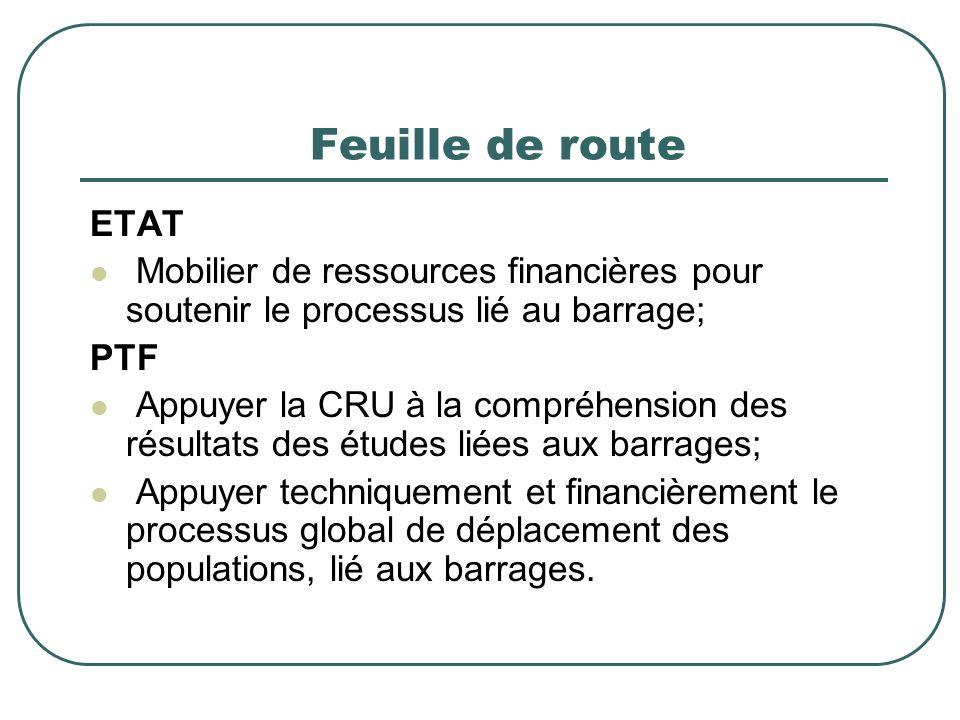 Feuille de route ETAT Mobilier de ressources financières pour soutenir le processus lié au barrage; PTF Appuyer la CRU à la compréhension des résultats des études liées aux barrages; Appuyer techniquement et financièrement le processus global de déplacement des populations, lié aux barrages.