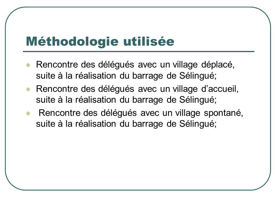 Méthodologie utilisée Rencontre des délégués avec un village déplacé, suite à la réalisation du barrage de Sélingué; Rencontre des délégués avec un village d'accueil, suite à la réalisation du barrage de Sélingué; Rencontre des délégués avec un village spontané, suite à la réalisation du barrage de Sélingué;