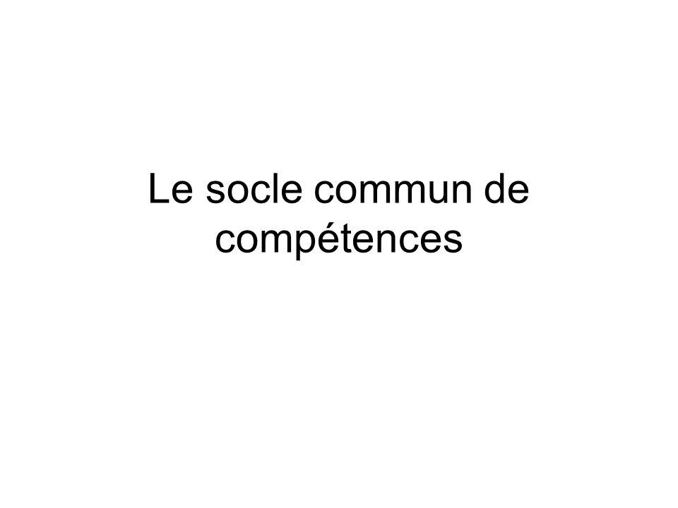 Le socle commun de compétences