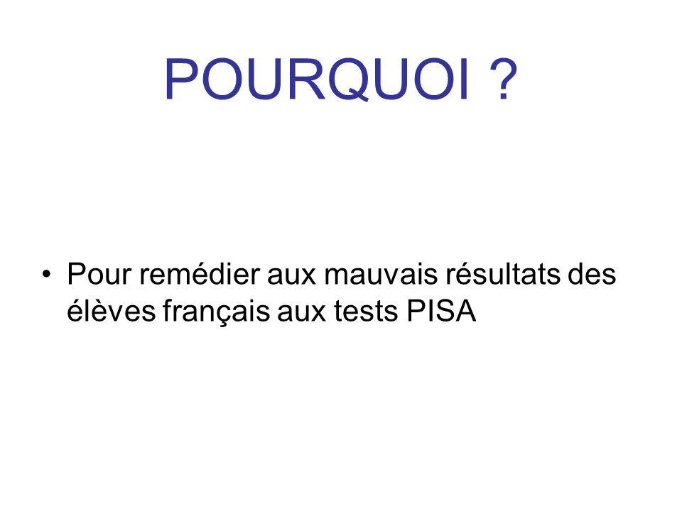 POURQUOI Pour remédier aux mauvais résultats des élèves français aux tests PISA