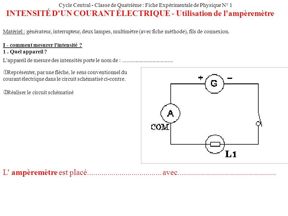 Cycle Central - Classe de Quatrième : Fiche Expérimentale de Physique N° 1 INTENSITÉ D UN COURANT ÉLECTRIQUE - Utilisation de l ampèremètre Matériel : générateur, interrupteur, deux lampes, multimètre (avec fiche méthode), fils de connexion.