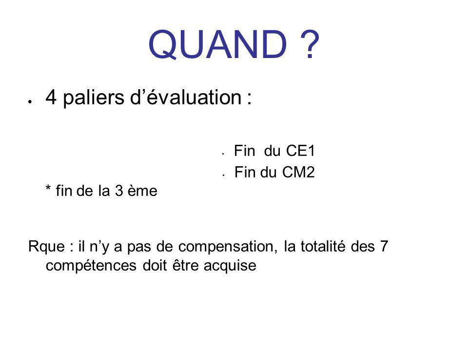 QUAND ?  4 paliers d'évaluation : Fin du CE1 Fin du CM2 * fin de la 3 ème Rque : il n'y a pas de compensation, la totalité des 7 compétences doit êtr