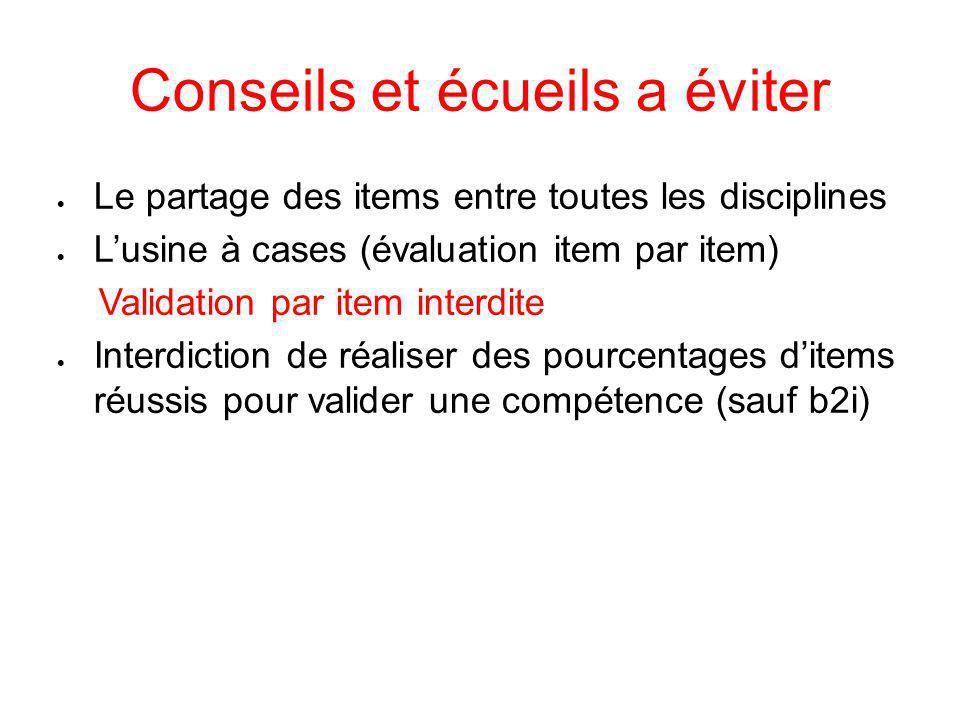 Conseils et écueils a éviter  Le partage des items entre toutes les disciplines  L'usine à cases (évaluation item par item) Validation par item inte