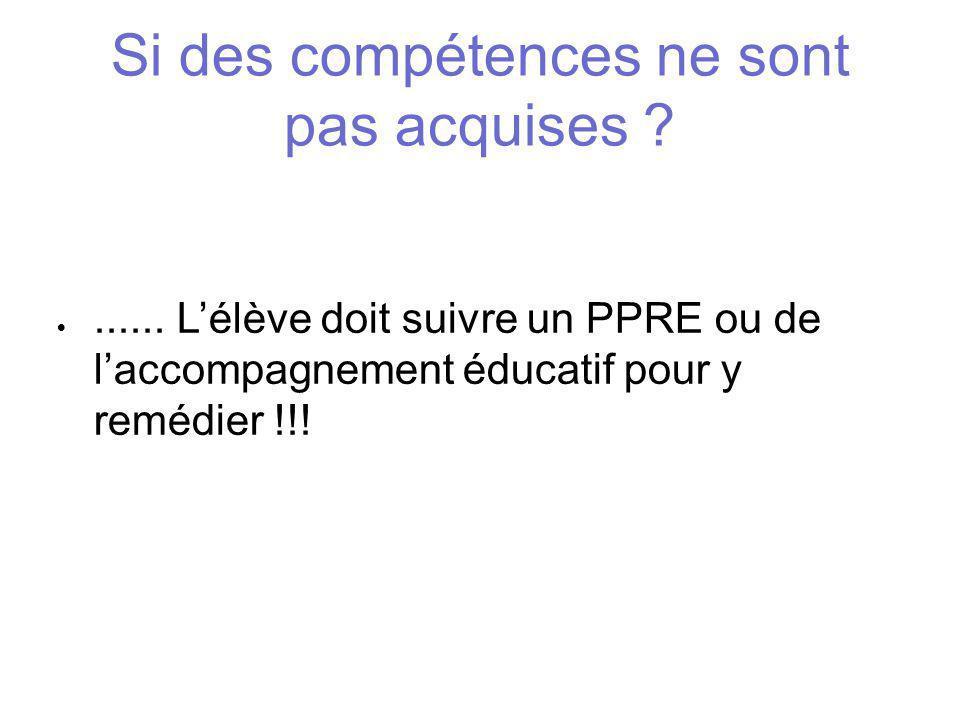 Si des compétences ne sont pas acquises ? ...... L'élève doit suivre un PPRE ou de l'accompagnement éducatif pour y remédier !!!