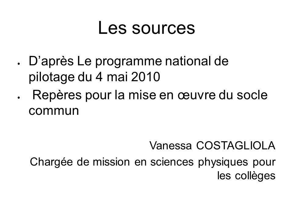 Les sources  D'après Le programme national de pilotage du 4 mai 2010  Repères pour la mise en œuvre du socle commun Vanessa COSTAGLIOLA Chargée de m