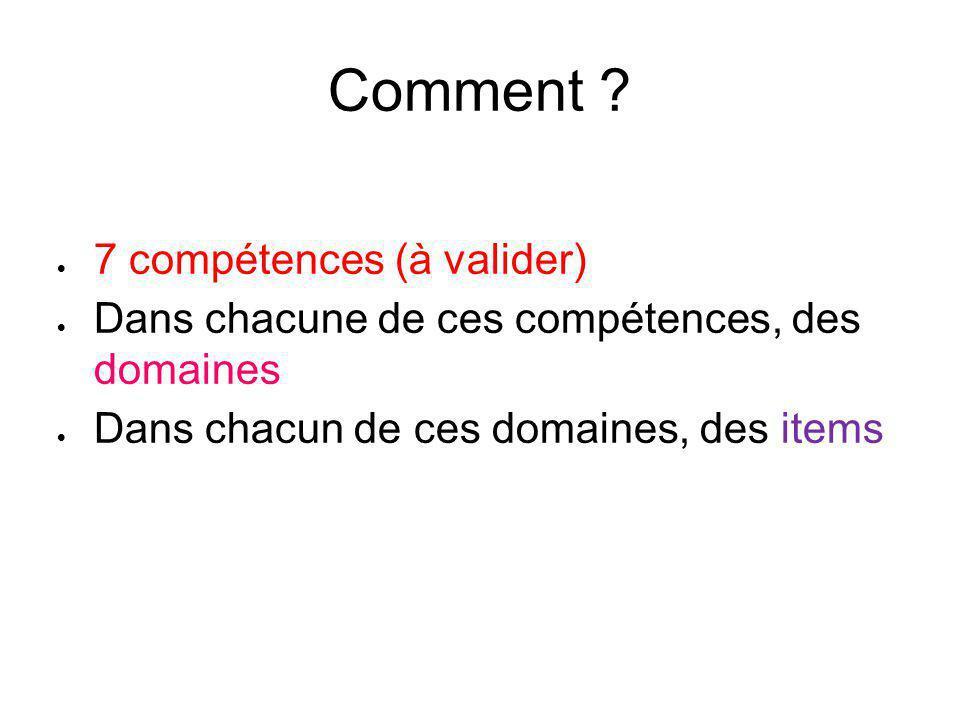 Comment ?  7 compétences (à valider)  Dans chacune de ces compétences, des domaines  Dans chacun de ces domaines, des items