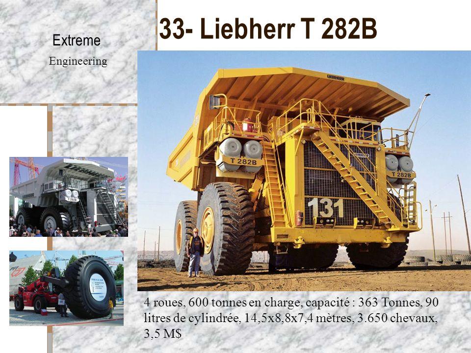 33- Liebherr T 282B Extreme Engineering 4 roues, 600 tonnes en charge, capacité : 363 Tonnes, 90 litres de cylindrée, 14,5x8,8x7,4 mètres, 3.650 cheva