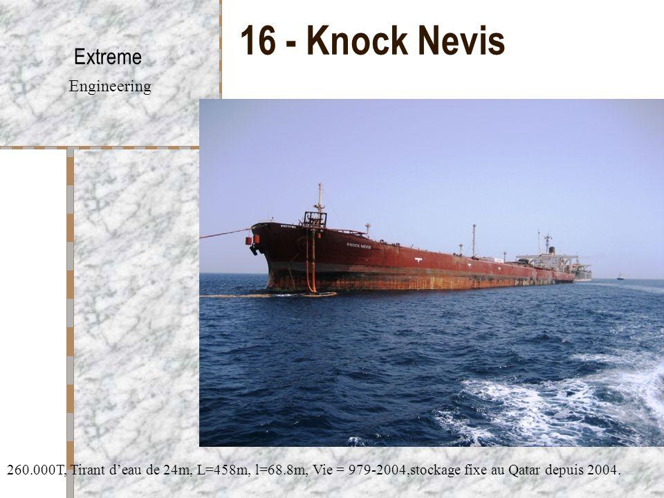 16 - Knock Nevis Extreme Engineering 260.000T, Tirant d'eau de 24m, L=458m, l=68.8m, Vie = 979-2004,stockage fixe au Qatar depuis 2004.