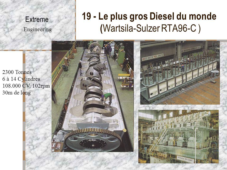 19 - Le plus gros Diesel du monde ( Wartsila-Sulzer RTA96-C ) Extreme Engineering 2300 Tonnes 6 à 14 Cylindres 108.000 CV, 102rpm 30m de long