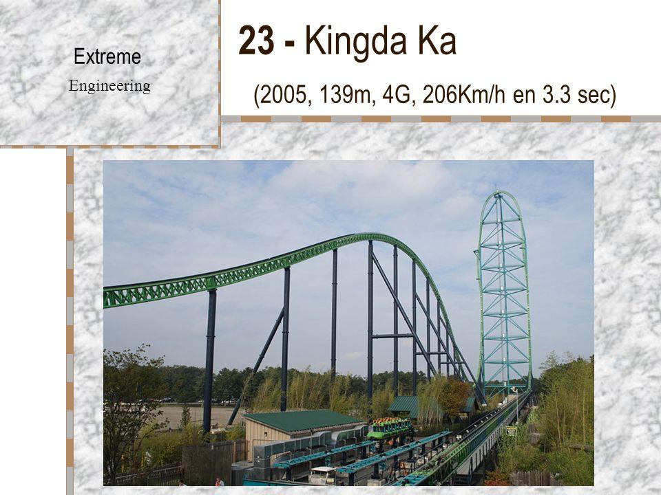23 - Kingda Ka (2005, 139m, 4G, 206Km/h en 3.3 sec) Extreme Engineering