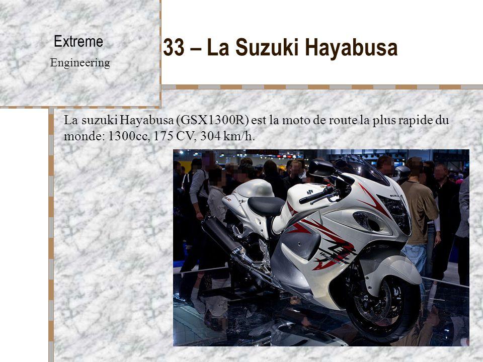 33 – La Suzuki Hayabusa Extreme Engineering La suzuki Hayabusa (GSX1300R) est la moto de route la plus rapide du monde: 1300cc, 175 CV, 304 km/h.