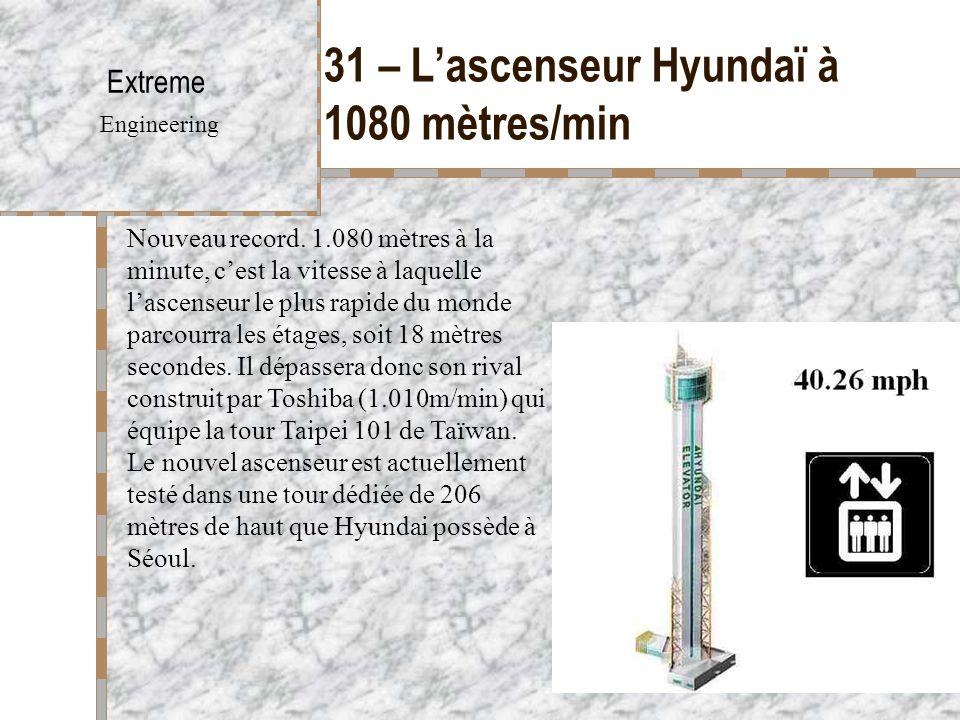 31 – L'ascenseur Hyundaï à 1080 mètres/min Extreme Engineering Nouveau record. 1.080 mètres à la minute, c'est la vitesse à laquelle l'ascenseur le pl