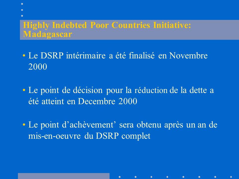 Highly Indebted Poor Countries Initiative: Madagascar Le DSRP intérimaire a été finalisé en Novembre 2000 Le point de décision pour la réduction de la dette a été atteint en Decembre 2000 Le point d'achèvement' sera obtenu après un an de mis-en-oeuvre du DSRP complet