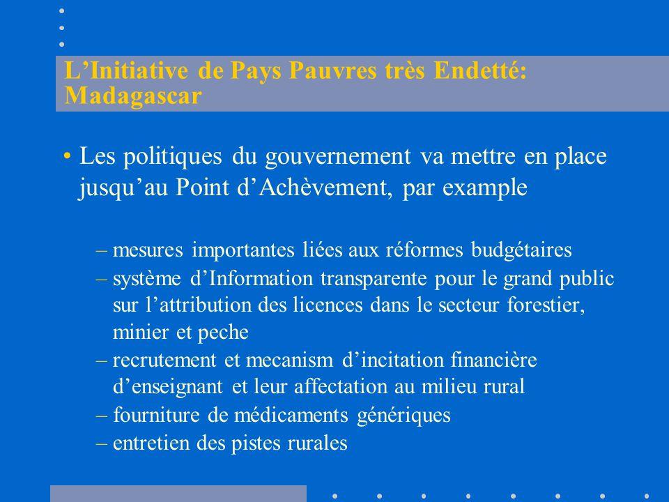 L'Initiative de Pays Pauvres très Endetté: Madagascar Les politiques du gouvernement va mettre en place jusqu'au Point d'Achèvement, par example –mesures importantes liées aux réformes budgétaires –système d'Information transparente pour le grand public sur l'attribution des licences dans le secteur forestier, minier et peche –recrutement et mecanism d'incitation financière d'enseignant et leur affectation au milieu rural –fourniture de médicaments génériques –entretien des pistes rurales