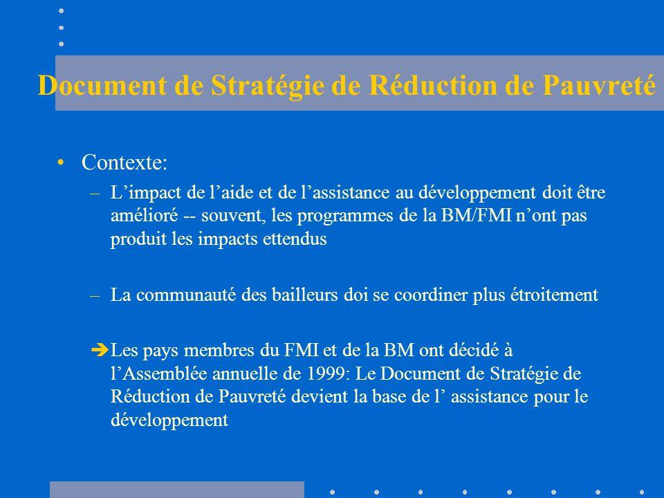 Document de Stratégie de Réduction de Pauvreté Contexte: –L'impact de l'aide et de l'assistance au développement doit être amélioré -- souvent, les programmes de la BM/FMI n'ont pas produit les impacts ettendus –La communauté des bailleurs doi se coordiner plus étroitement  Les pays membres du FMI et de la BM ont décidé à l'Assemblée annuelle de 1999: Le Document de Stratégie de Réduction de Pauvreté devient la base de l' assistance pour le développement