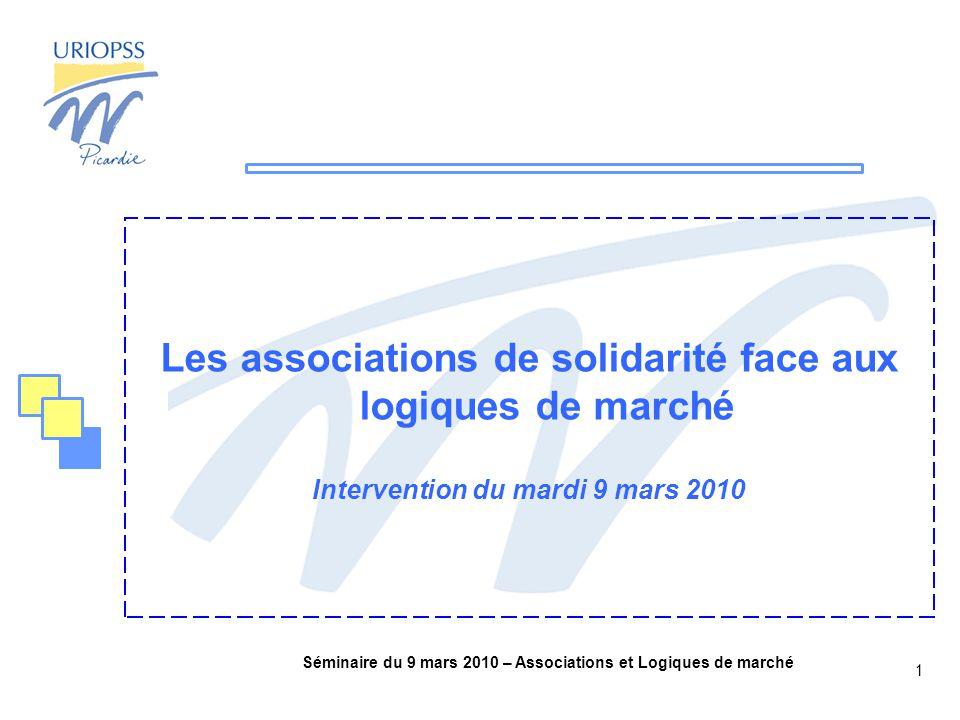 Séminaire du 9 mars 2010 – Associations et Logiques de marché 1 Les associations de solidarité face aux logiques de marché Intervention du mardi 9 mars 2010