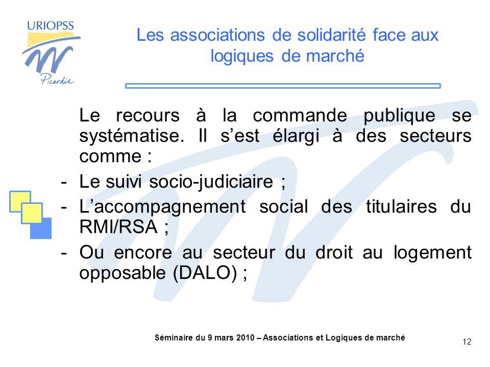 Séminaire du 9 mars 2010 – Associations et Logiques de marché 12 Les associations de solidarité face aux logiques de marché Le recours à la commande publique se systématise.