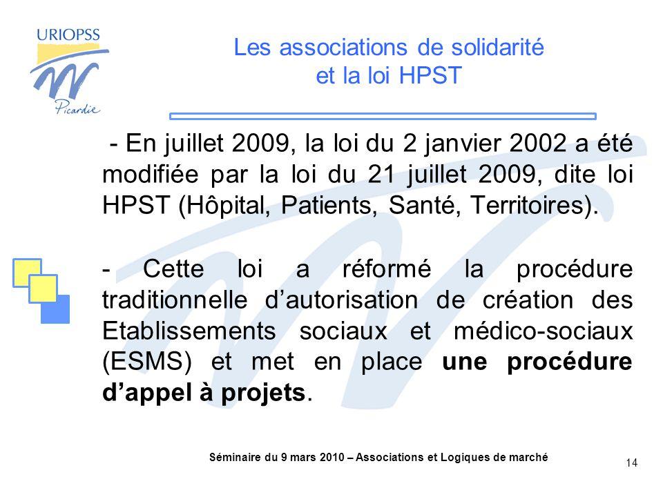 Séminaire du 9 mars 2010 – Associations et Logiques de marché 14 Les associations de solidarité et la loi HPST - En juillet 2009, la loi du 2 janvier 2002 a été modifiée par la loi du 21 juillet 2009, dite loi HPST (Hôpital, Patients, Santé, Territoires).