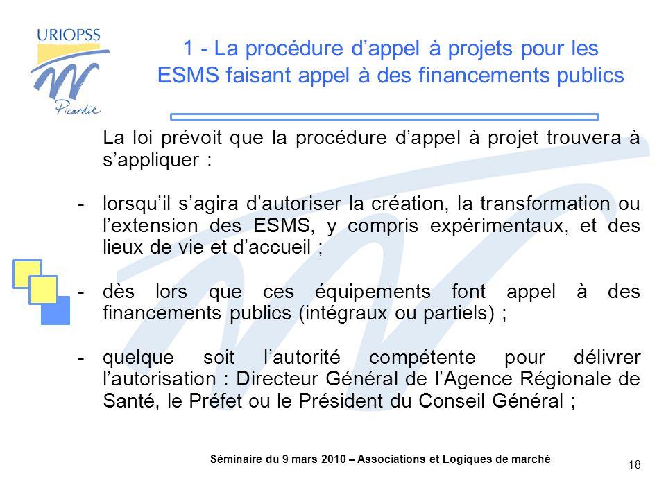 Séminaire du 9 mars 2010 – Associations et Logiques de marché 18 1 - La procédure d'appel à projets pour les ESMS faisant appel à des financements publics La loi prévoit que la procédure d'appel à projet trouvera à s'appliquer : -lorsqu'il s'agira d'autoriser la création, la transformation ou l'extension des ESMS, y compris expérimentaux, et des lieux de vie et d'accueil ; -dès lors que ces équipements font appel à des financements publics (intégraux ou partiels) ; -quelque soit l'autorité compétente pour délivrer l'autorisation : Directeur Général de l'Agence Régionale de Santé, le Préfet ou le Président du Conseil Général ;