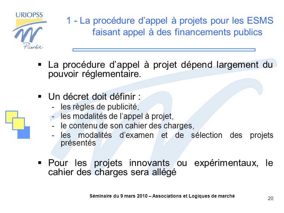 Séminaire du 9 mars 2010 – Associations et Logiques de marché 20 1 - La procédure d'appel à projets pour les ESMS faisant appel à des financements publics  La procédure d'appel à projet dépend largement du pouvoir réglementaire.