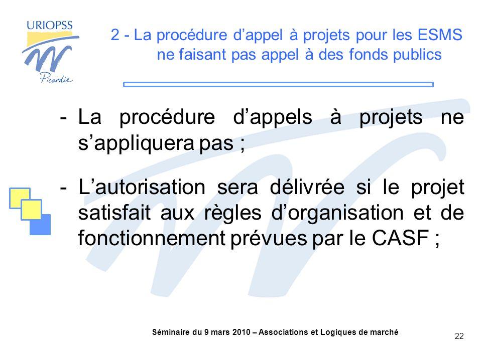 Séminaire du 9 mars 2010 – Associations et Logiques de marché 22 2 - La procédure d'appel à projets pour les ESMS ne faisant pas appel à des fonds publics -La procédure d'appels à projets ne s'appliquera pas ; - L'autorisation sera délivrée si le projet satisfait aux règles d'organisation et de fonctionnement prévues par le CASF ;