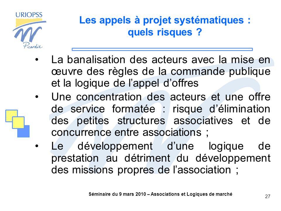 Séminaire du 9 mars 2010 – Associations et Logiques de marché 27 Les appels à projet systématiques : quels risques .