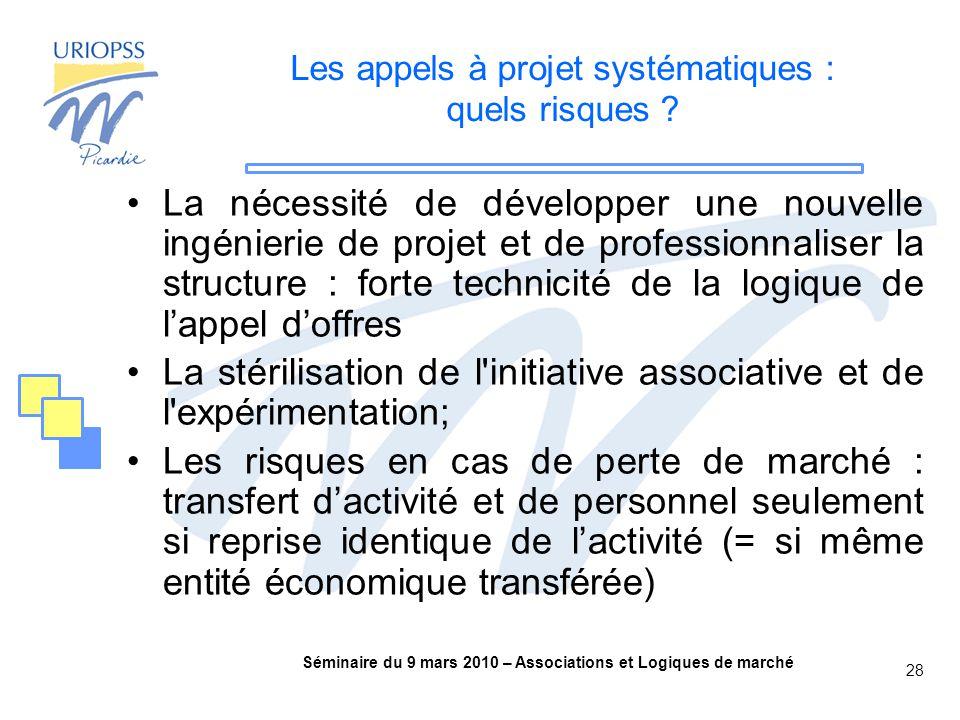 Séminaire du 9 mars 2010 – Associations et Logiques de marché 28 Les appels à projet systématiques : quels risques .