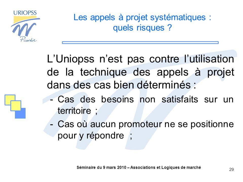 Séminaire du 9 mars 2010 – Associations et Logiques de marché 29 Les appels à projet systématiques : quels risques .