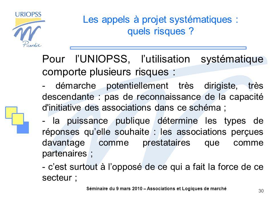 Séminaire du 9 mars 2010 – Associations et Logiques de marché 30 Les appels à projet systématiques : quels risques .