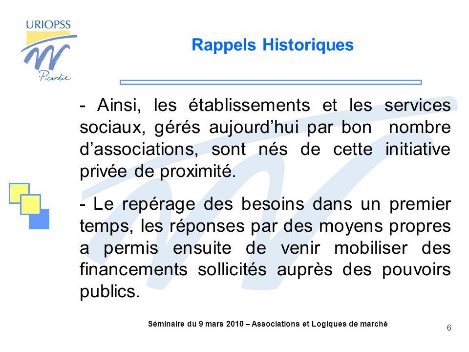 Séminaire du 9 mars 2010 – Associations et Logiques de marché 6 Rappels Historiques - Ainsi, les établissements et les services sociaux, gérés aujourd'hui par bon nombre d'associations, sont nés de cette initiative privée de proximité.