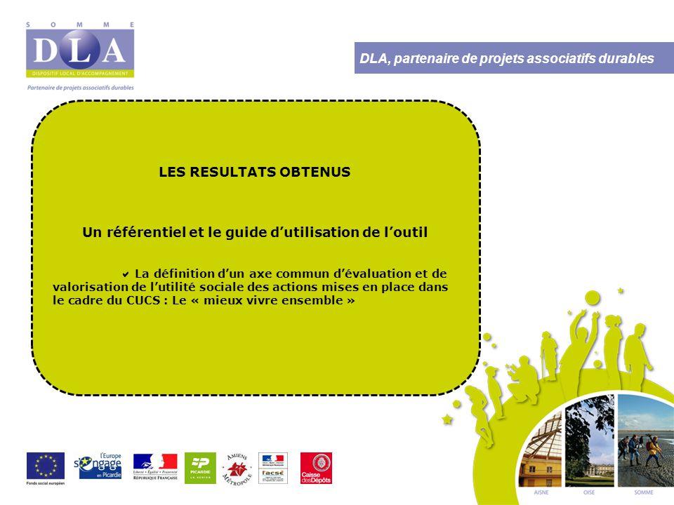 DLA, partenaire de projets associatifs durables LES RESULTATS OBTENUS  L'identification collective de pratiques et d'indicateurs pour démontrer la plus value des actions en faveur du « mieux vivre ensemble »