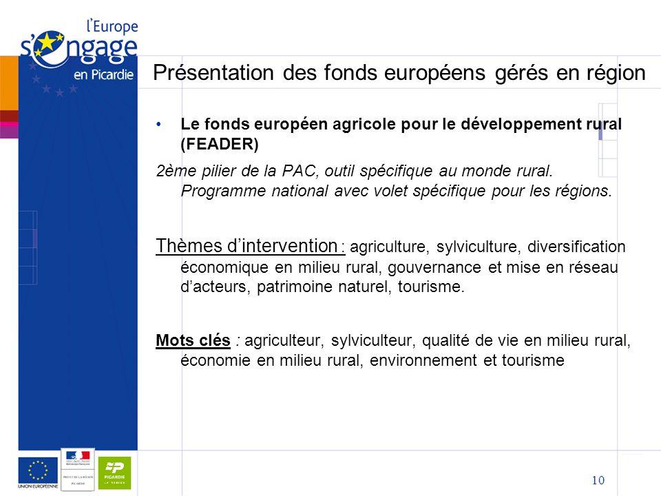 10 Présentation des fonds européens gérés en région Le fonds européen agricole pour le développement rural (FEADER) 2ème pilier de la PAC, outil spécifique au monde rural.