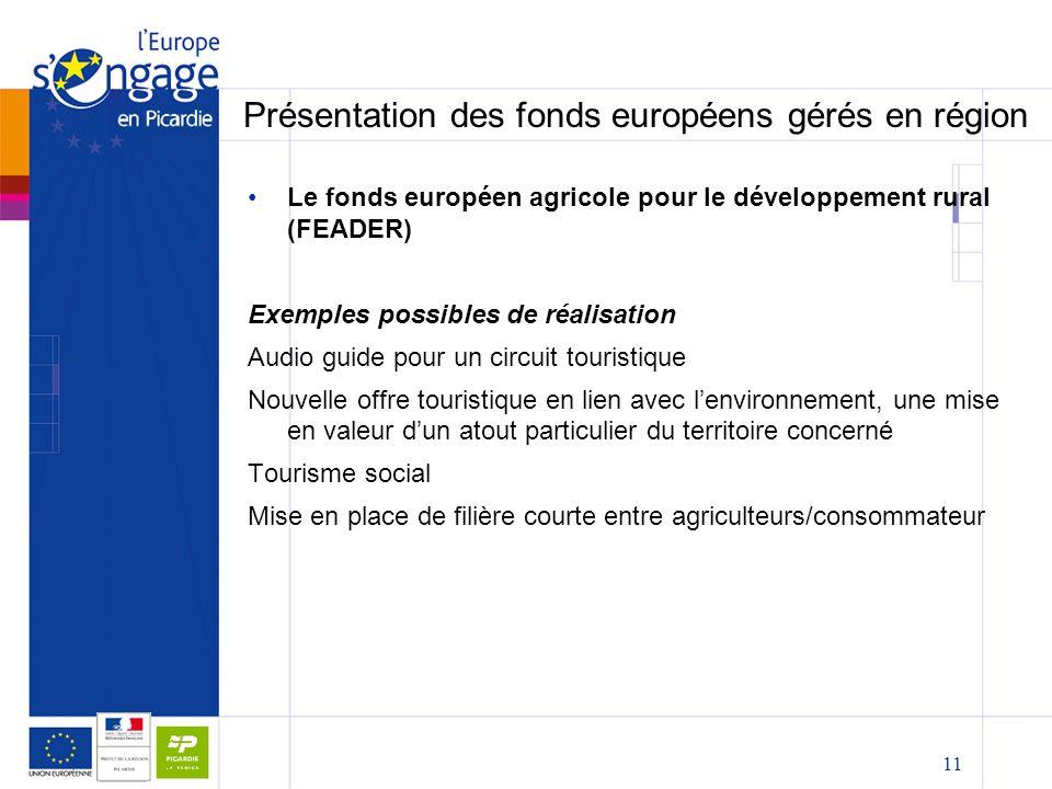 11 Présentation des fonds européens gérés en région Le fonds européen agricole pour le développement rural (FEADER) Exemples possibles de réalisation